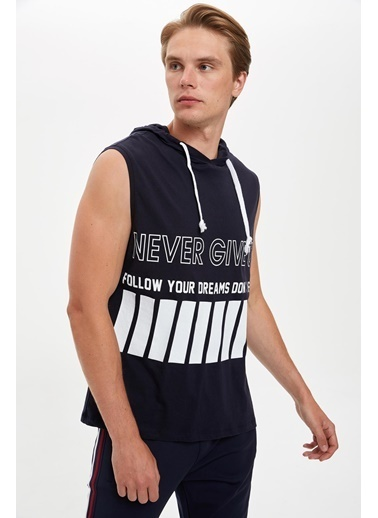 Defacto –Fit Baskılı Kapüşonlu Slim Fit Kolsuz Pamuklu Sweatshirt Lacivert